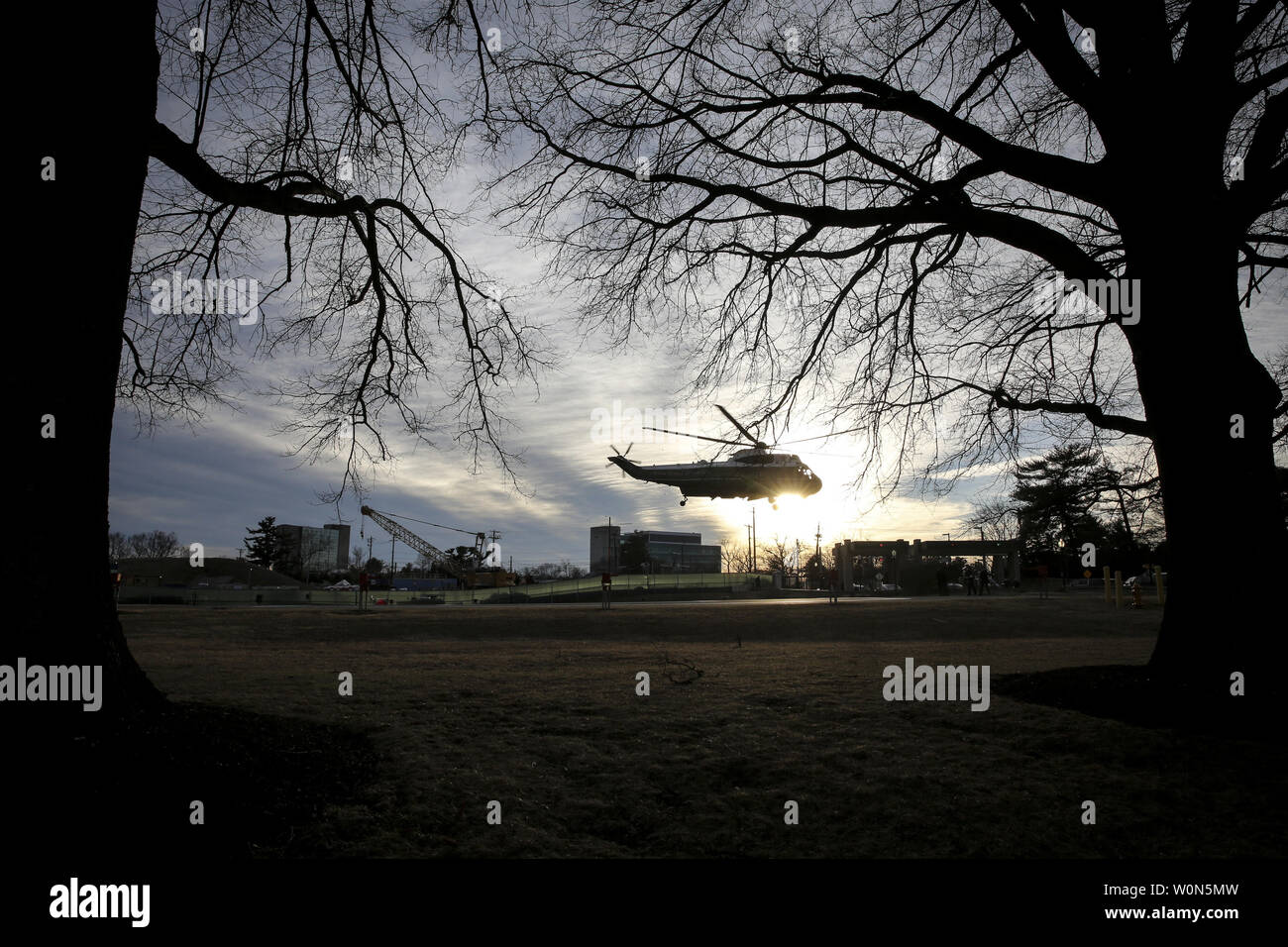 Marine One carrying President Donald Trump departs from Walter Reed National Military Medical Center after his annual physical exam in Bethesda, Maryland, on February 8, 2018..   Photo by Oliver Contreras/UPI Stock Photo