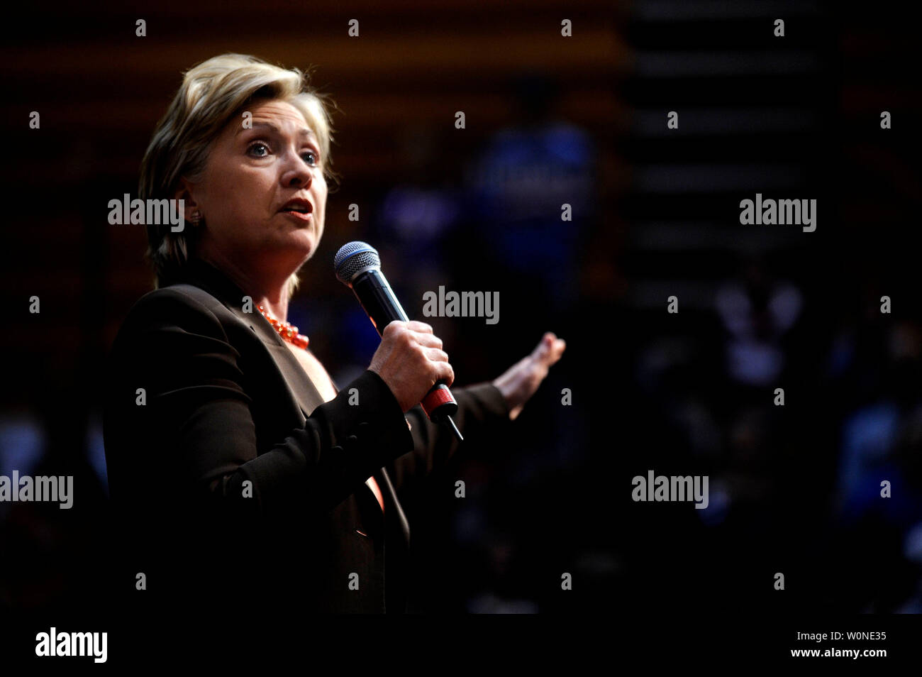 Democratic presidential candidate Sen. Hillary Clinton (D-NY) delivers remarks at a campaign rally on the eve of the West Virginia primaries at Fairmont State University in Fairmont, West Virginia on May 12, 2008. West Virginians head to the polls tomorrow in that states presidential primaries. (UPI Photo/Kevin Dietsch) Stock Photo