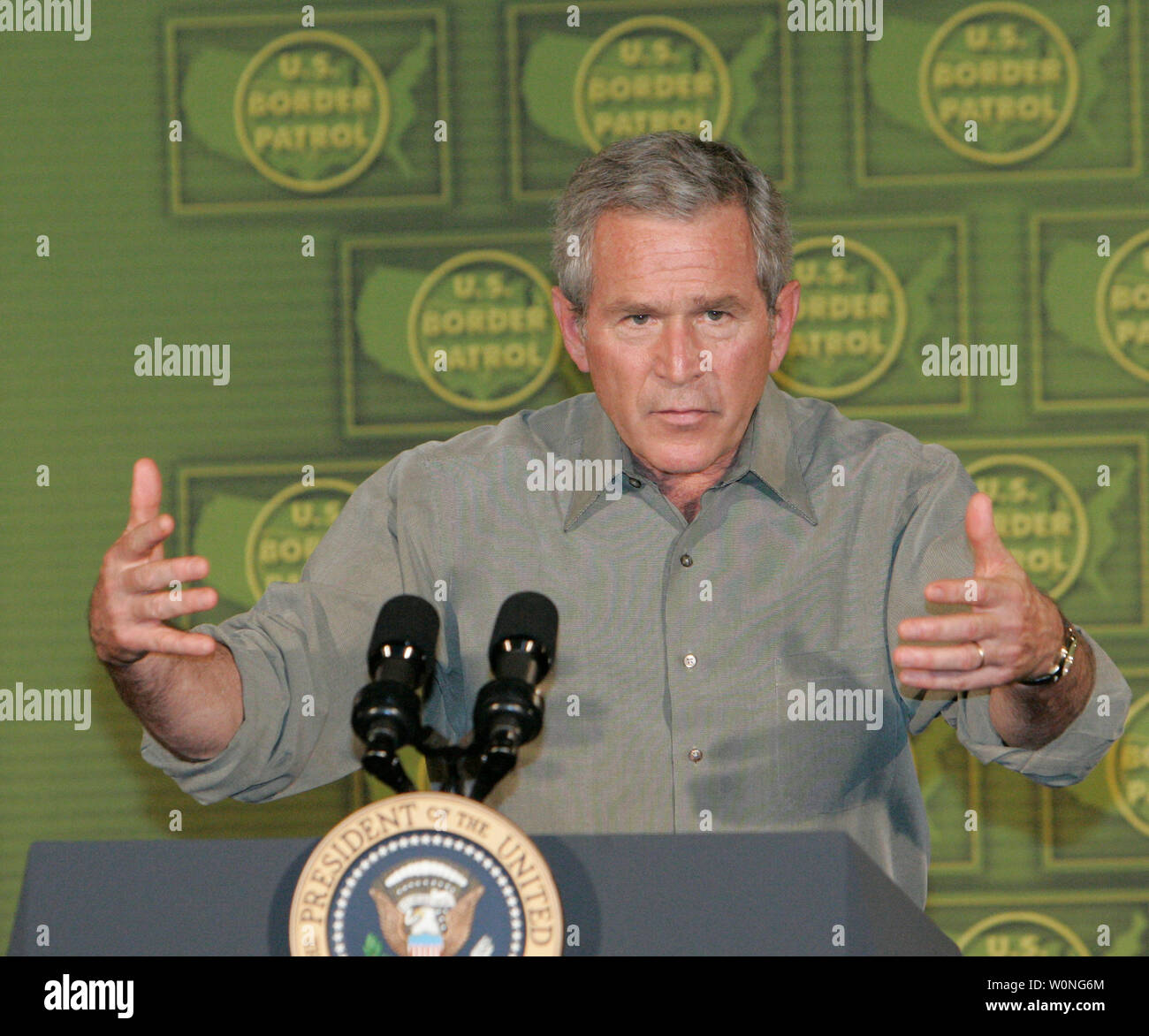 President of the United States George W  Bush speaks to