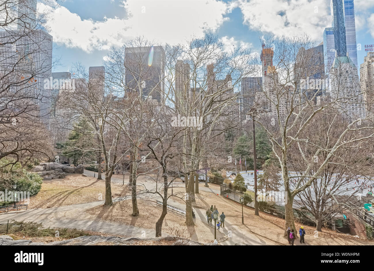 NEW YORK, USA - JANUARY 15, 2018: City view from the Central Park in winter season. - Stock Image