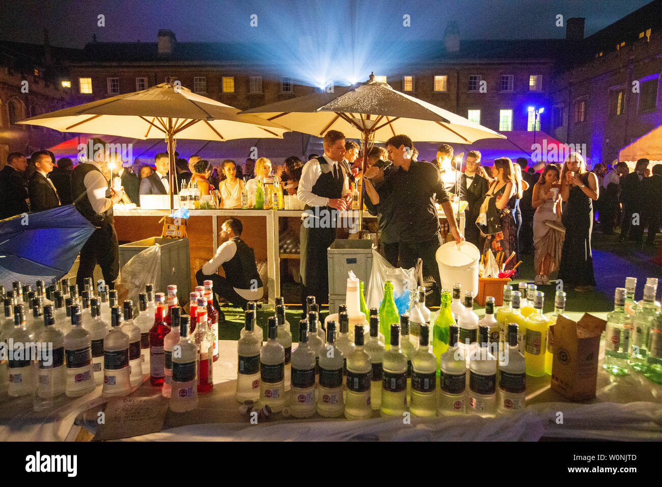 Picture dated June 18/19th shows drinks and a bar at the St Johns' May Ball in Cambridge.  Pictures offer a rare glimpse inside the lavish St Johns' May Ball, now the highlight of the social calendar at Cambridge University and headlined by Pixie Lott this year.  Students braved the rain to step out in black tie and elegant ball gowns for the event which has been voted 'Seventh Best Party in the World' by Time Magazine.  Every year there is a scramble to get tickets for the spectacular end-of-year party, which costs £365 for a pair.  The theme of the event is always a closely guarded secret un - Stock Image