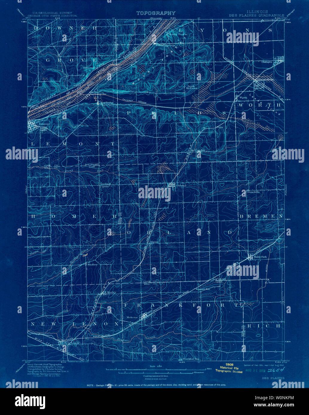 USGS TOPO Map Illinois IL Des Plaines 309386 1901 62500 ...