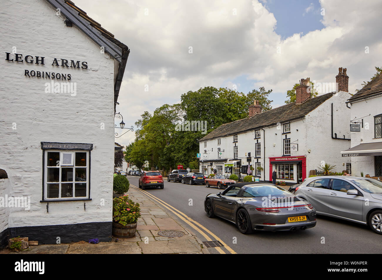 Prestbury is a village and civil parish in Cheshire, England. About 1.5 miles north of Macclesfield - Stock Image