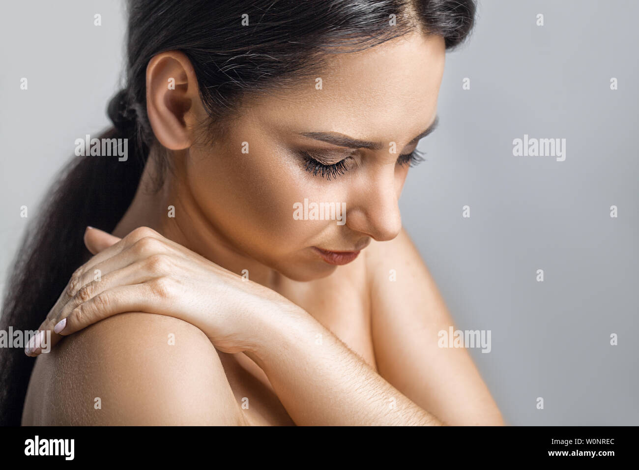 Heart Health Care. Closeup Of Young Woman Feeling Strong Pain In Chest. Close-up Of Female Body With Hand On Chest. Girl Suffering From Painful - Stock Image