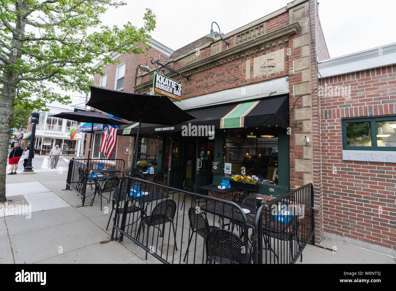 Hyannis, MA - June 10, 2019: KKatie's Burger Bar offers outdoor seating and was voted Best Burger on the South Shore by South Shore Living Magazine. K - Stock Image