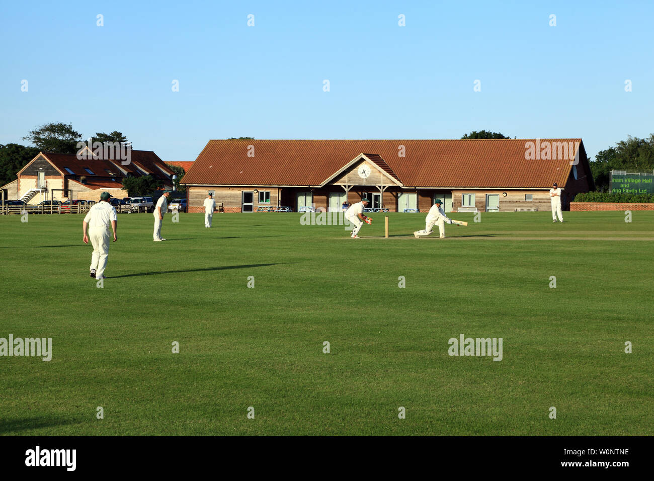 Village Cricket, match, game, sport, Thornham, Norfolk, UK Stock Photo