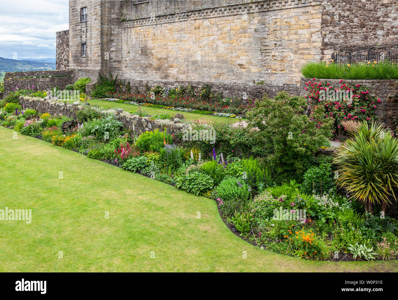 The Queen Anne Gardens, possibly dating from 1400, with lawns and herbaceous borders, under Stirling Castle, Scotland, UK Stock Photo