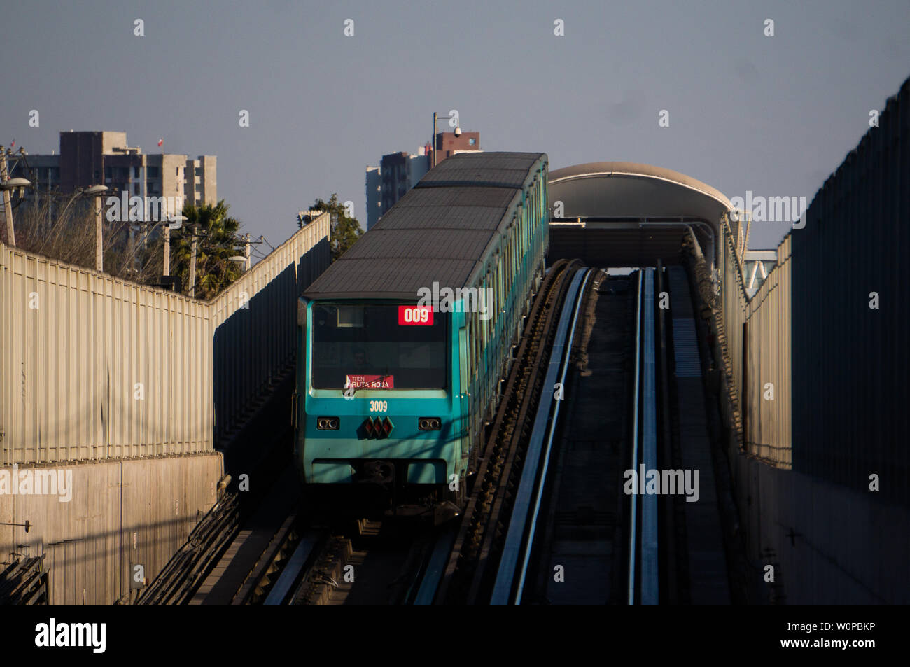 SANTIAGO, CHILE - AUGUST 2016: A Metro de Santiago entering the