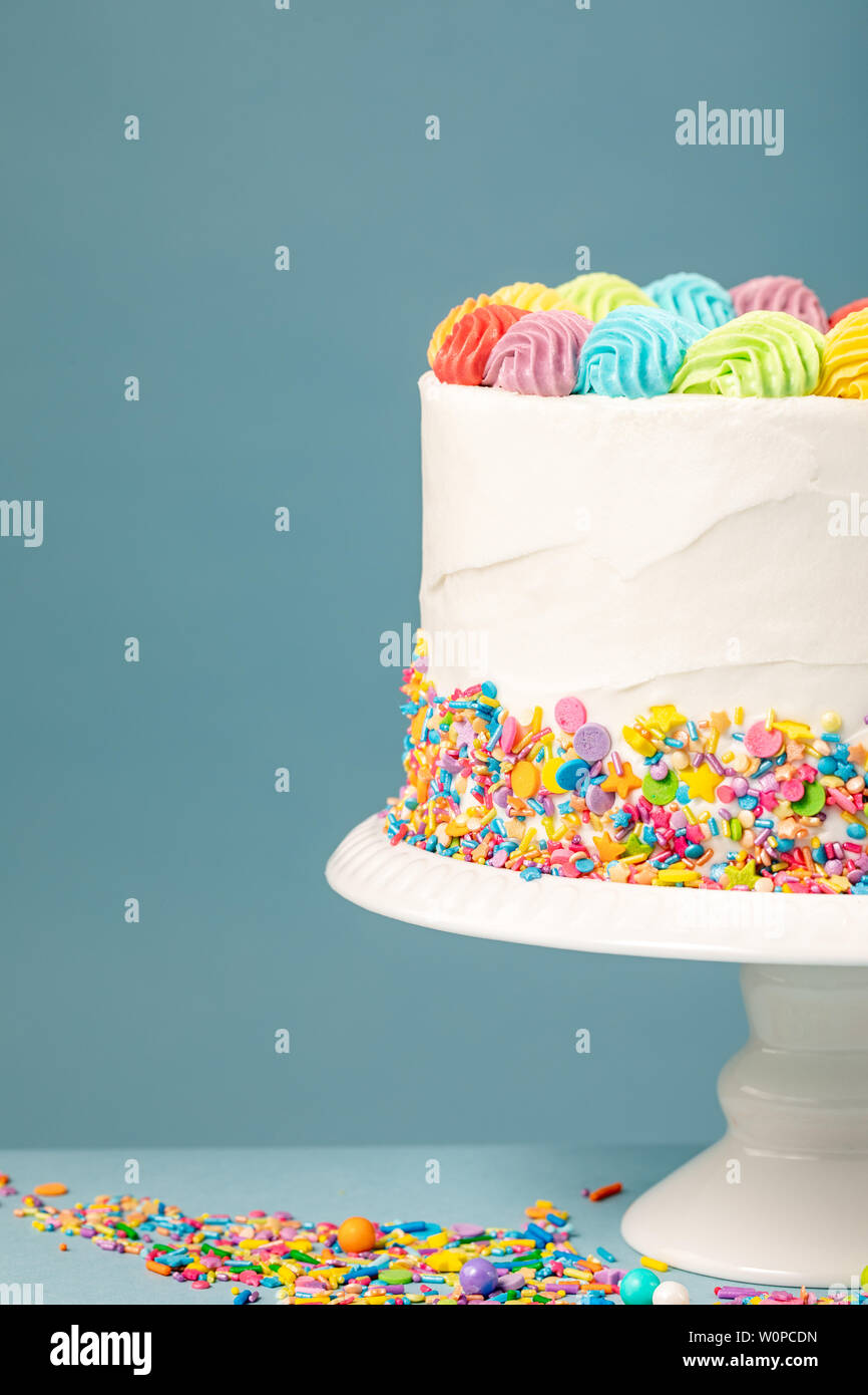 Enjoyable White Birthday Cake With Rainbow Icing And Colorful Sprinkles Over Funny Birthday Cards Online Elaedamsfinfo
