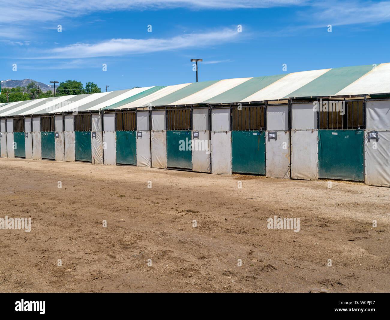 Row Of Temporary Horse Stalls Stock Photo Alamy