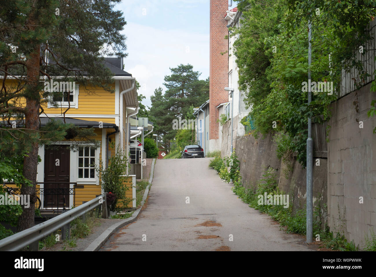 Streets of Old Pispala in Tampere Finland - Stock Image