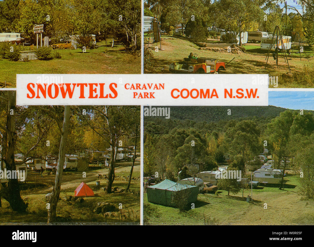 A postcard image of the Snowtels Caravan Park in Cooma, Australia. Age of the card is unavailable but based on the cars in the image its likely to be early to mid 1970's. The original publisher was Bartel & Schorn. - Stock Image