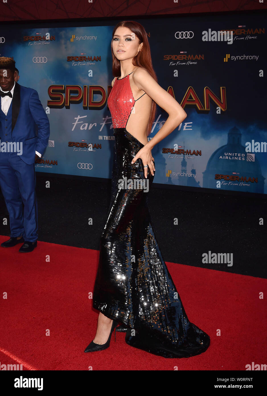 "HOLLYWOOD, CA - JUNE 26: Zendaya attends the premiere of Sony Pictures' ""Spider-Man Far From Home"" at TCL Chinese Theatre on June 26, 2019 in Hollywood, California. Stock Photo"