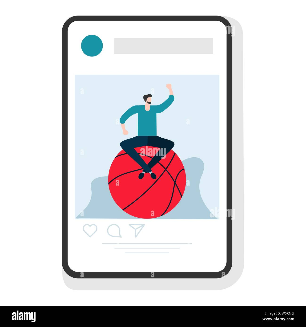 Vector illustration with man, basketball  Playing sports