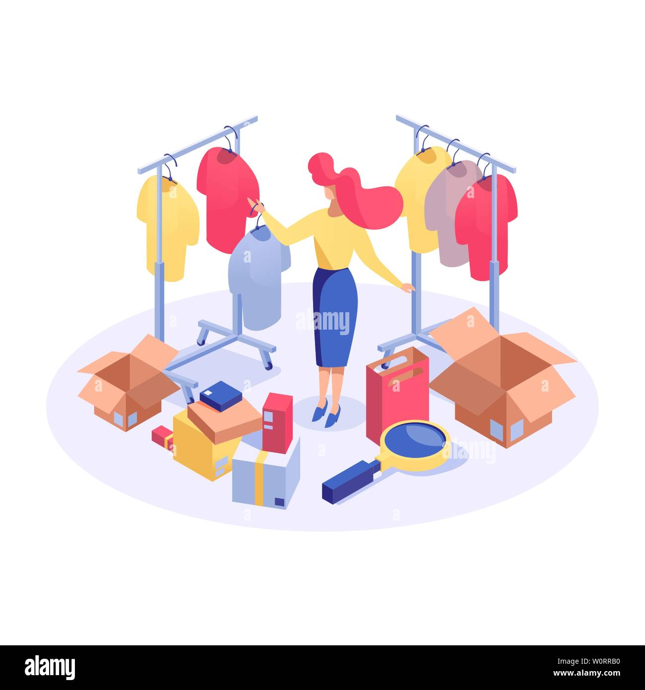 Woman in clothes boutique isometric illustration. Female buyer searching best price, choosing products, marketer analyzing goods 3d vector character. Consumerism and shopping isolated clipart - Stock Image