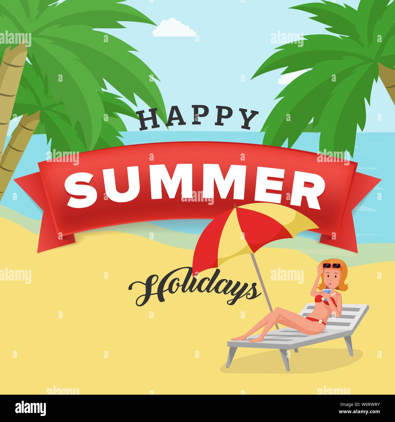 Happy summer holidays vector poster template. Elegant girl, holidaymaker drinking cocktail on deck chair with beach umbrella. Seaside resort promotion, travel agency advert for social media post - Stock Vector
