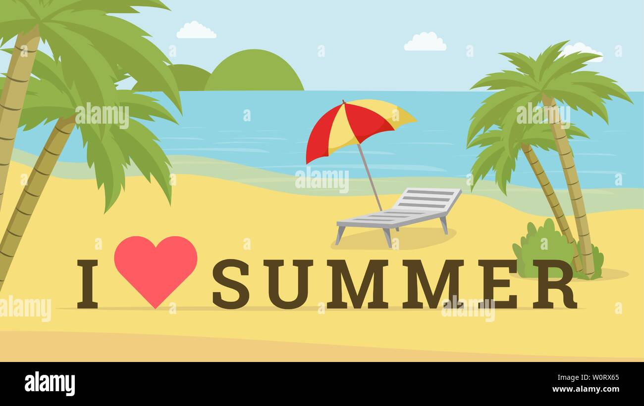 I Love Summer Vector Postcard Template Seaside Resort With Deck Chair Beach Umbrella Promotional Poster Layout Travel Agency Advert Trendy Photoshoot Location Photozone Idea With Heart Symbol Stock Vector Image Art