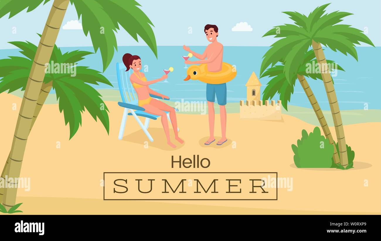 Romantic seaside vacation vector banner template. Happy couple on honeymoon trip drinking cocktails on beach. Hello summer phrase in frame, seaside resort promotional typography, postcard layout - Stock Vector