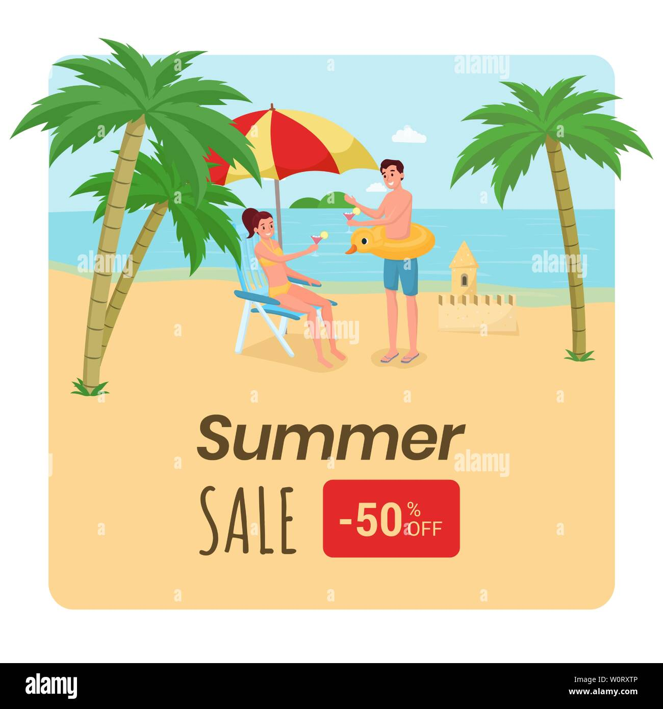 Travel agency discount offer poster template. Happy family, couple on honeymoon trip enjoying exotic nature, drinking cocktails. Seaside resort 50 percent lower price advert for social media post - Stock Vector