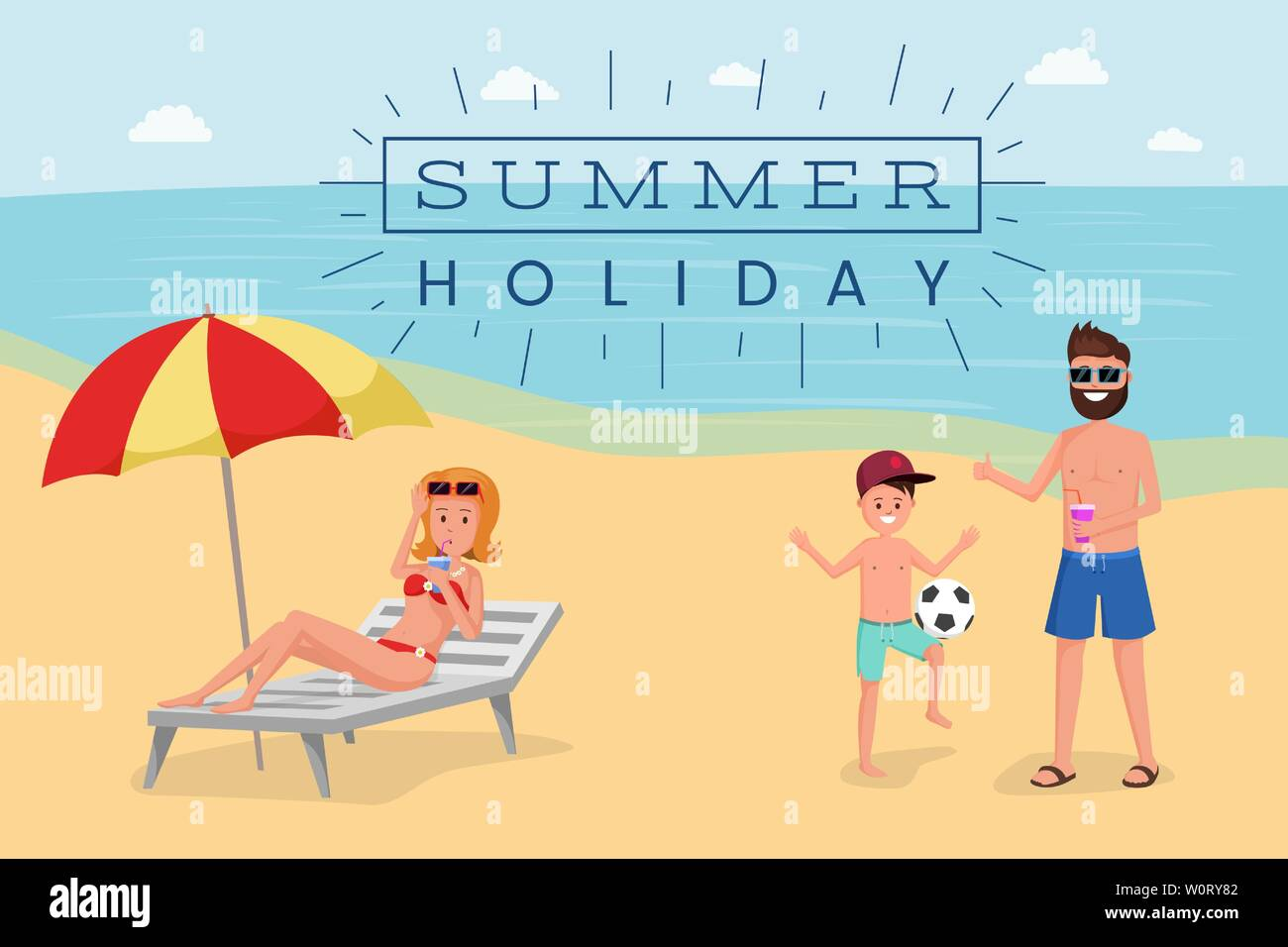 Summer holiday flat vector banner template. Cartoon tourist sunbathing on beach, playing ball game, woman on deck chair drinking cocktail. Seaside resort for family weekend advertising poster layout - Stock Vector