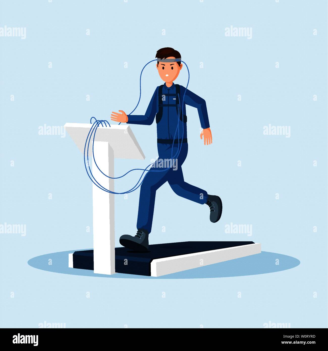 Astronaut physical test flat vector illustration. Spaceman, cosmonaut space station training, using treadmill exercise machine cartoon character. Space mission preparing isolated clipart Stock Vector