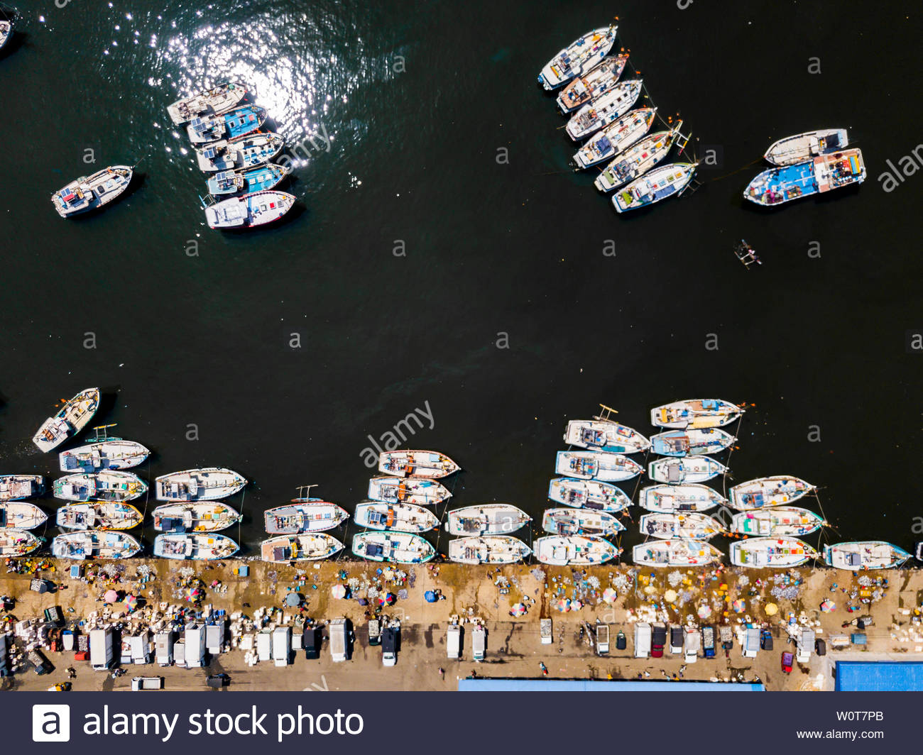 Aerial view of fishing boats in a small port. Kudawella, Sri Lanka. - Stock Image