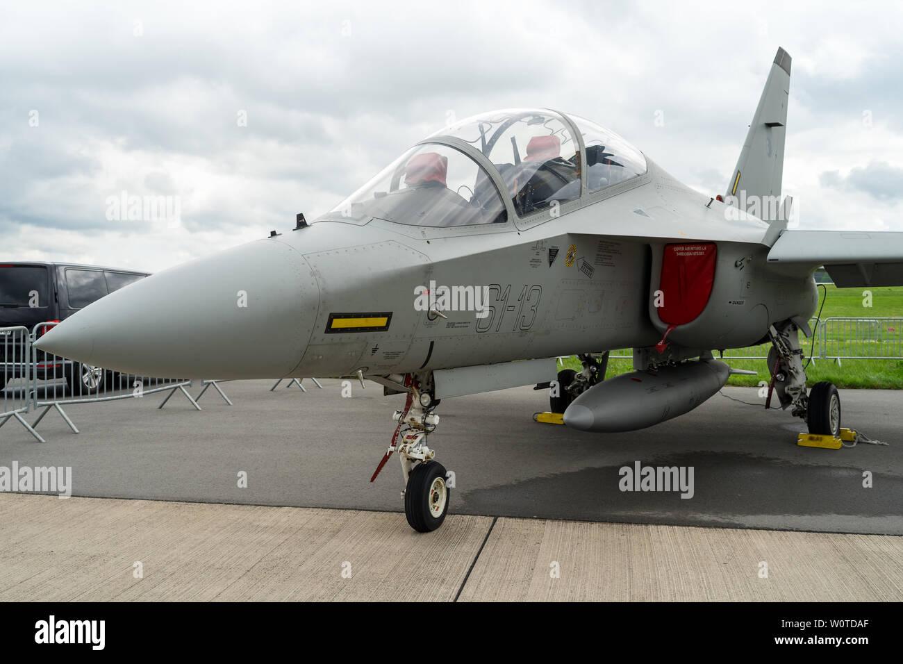 BERLIN - APRIL 26, 2018: Space Pavilion. Advanced jet trainer Alenia Aermacchi M-346 Master. Italian Air Force. Exhibition ILA Berlin Air Show 2018 - Stock Image