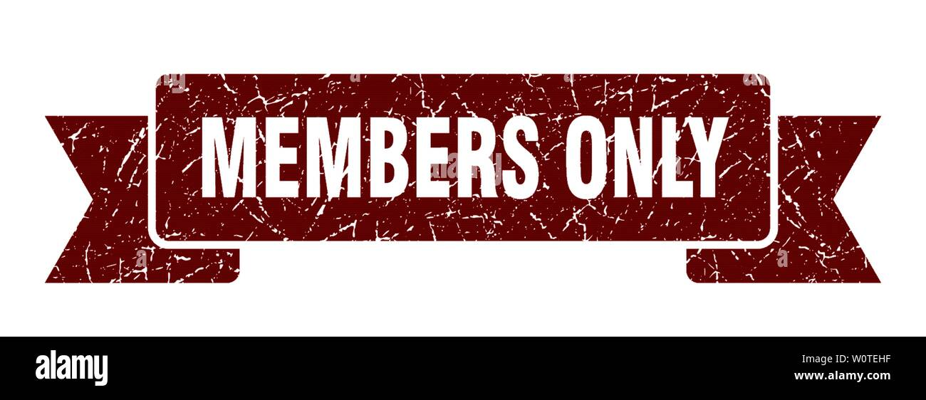 members only grunge ribbon. members only sign. members only banner - Stock Image