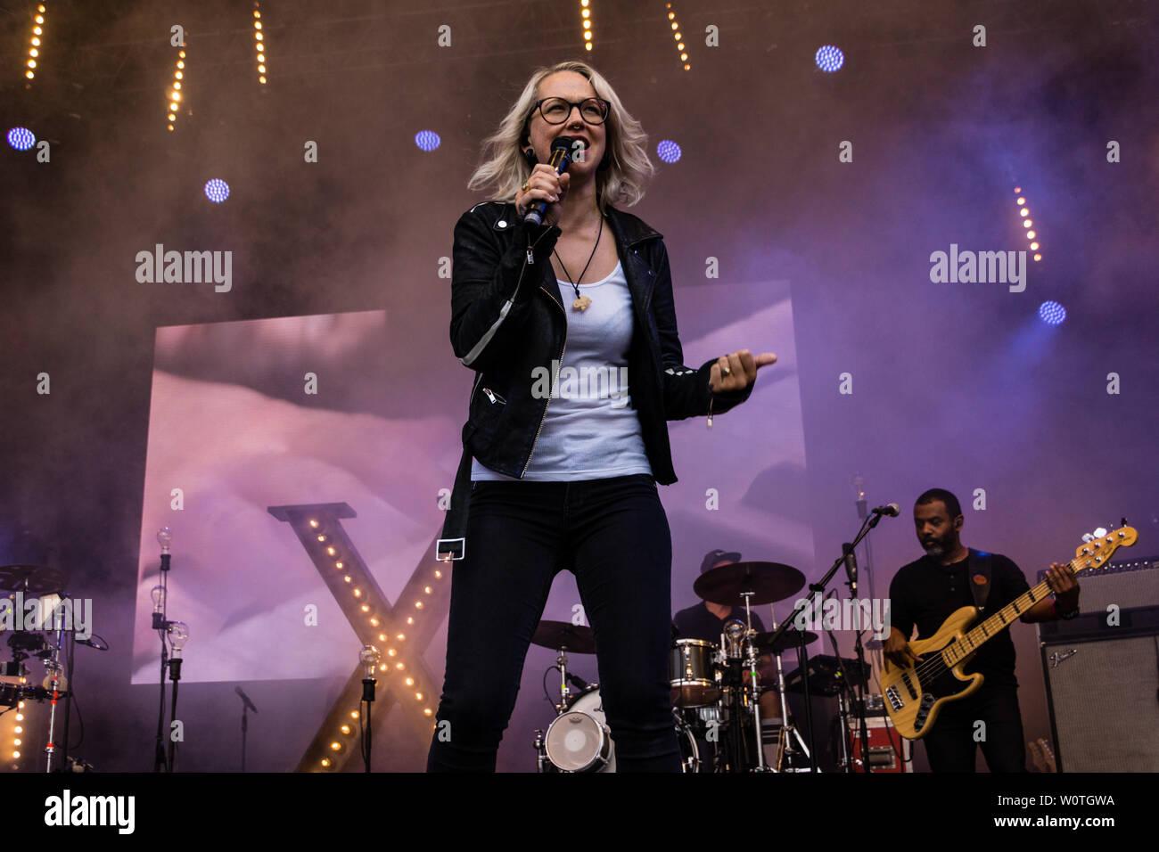 Kiel, Germany - June 16, 2018: Stefanie Heinemann is performing in the Rathaustage during Kiel Week 2018 Stock Photo