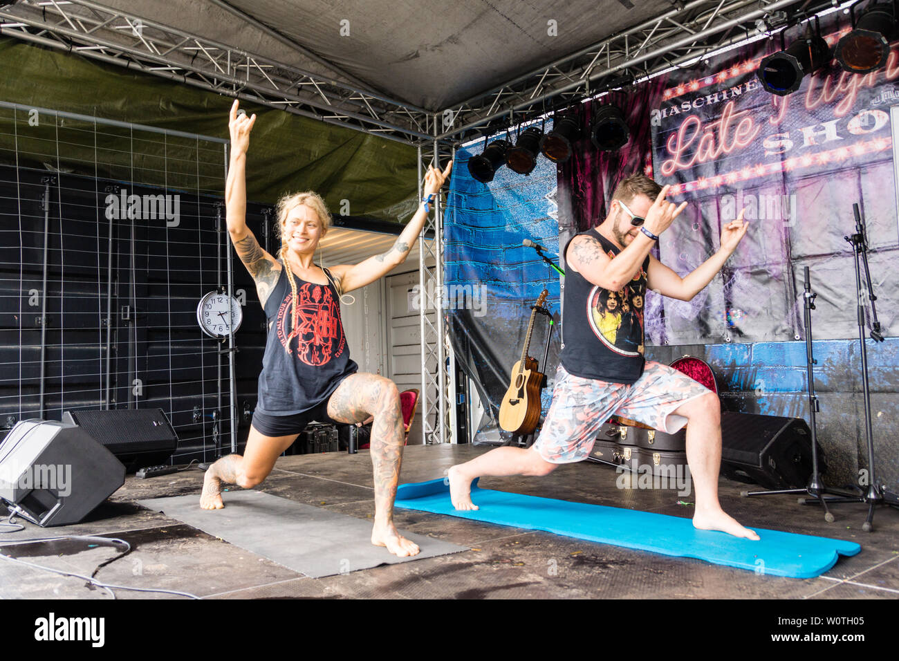 Kiel, Germany - June 16, 2018: Metal Yoga by Saskia Thode on the 2nd Stage in the Radio Bob! Rock Camp during Kiel Week 2018 - Stock Image
