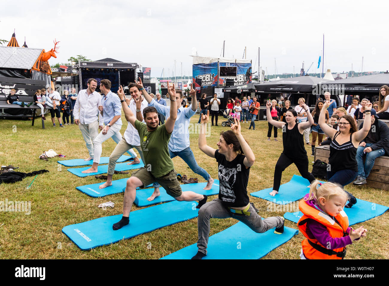 Kiel, Germany - June 16, 2018: Metal Yoga by Saskia Thode on the 2nd Stage in the Radio Bob! Rock Camp during Kiel Week 2018 Stock Photo