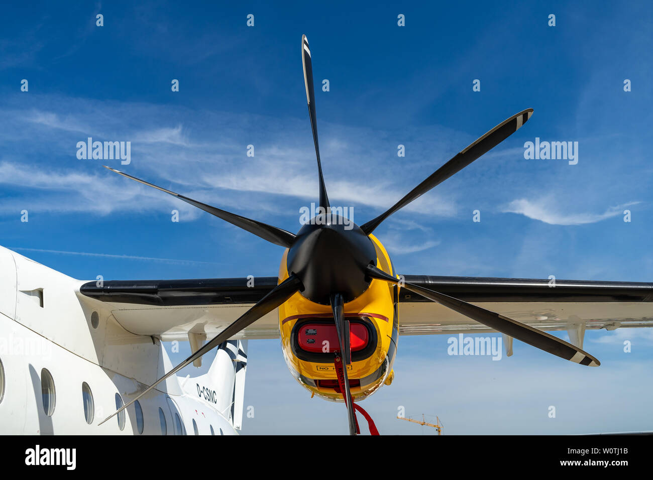 BERLIN - APRIL 28, 2018: Engine of a turboprop-powered commuter airliner Dornier 328-110, closeup. Exhibition ILA Berlin Air Show 2018. - Stock Image