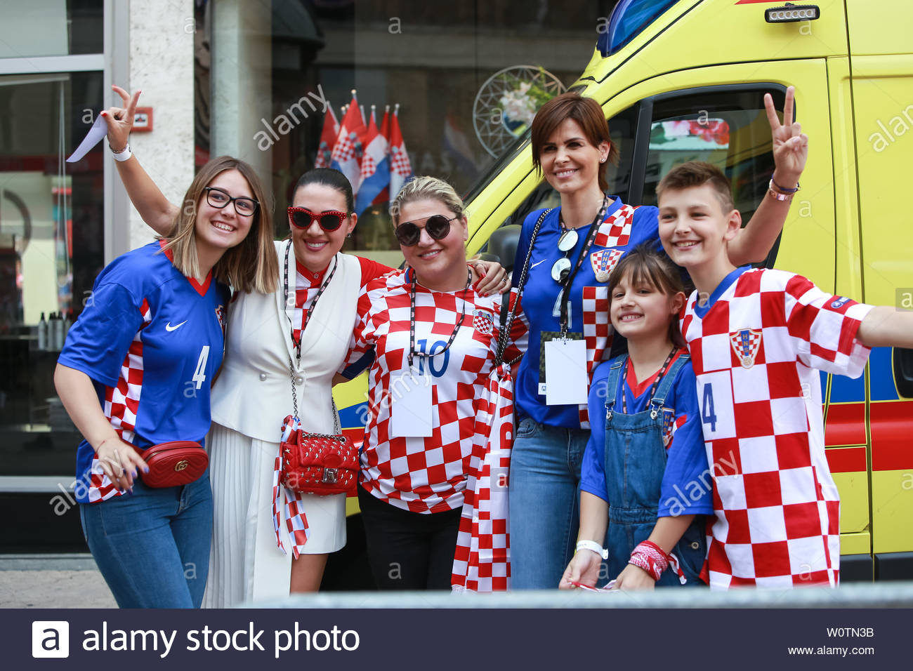 ZAGREB,CROATIA -JULY 16, 2018 : National Team welcome home celebration. Anica Kovac former model known for being the First Runner-up in the Miss World 1995 competition with her kids and friends. - Stock Image