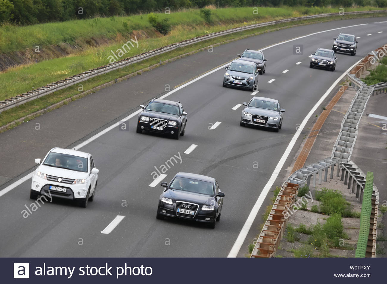 Zagreb, Croatia - August 11th, 2018 : Traffic on the Zagreb highway bypass in Zagreb, Croatia. Stock Photo