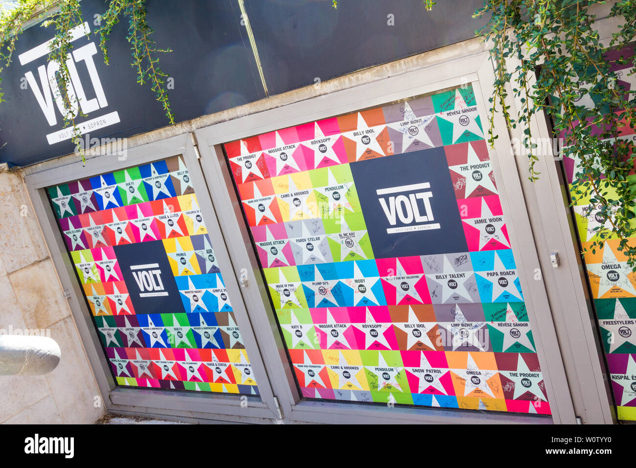 Volt Cafe city of stars wall with famous music groups in Sopron, Hungary Stock Photo