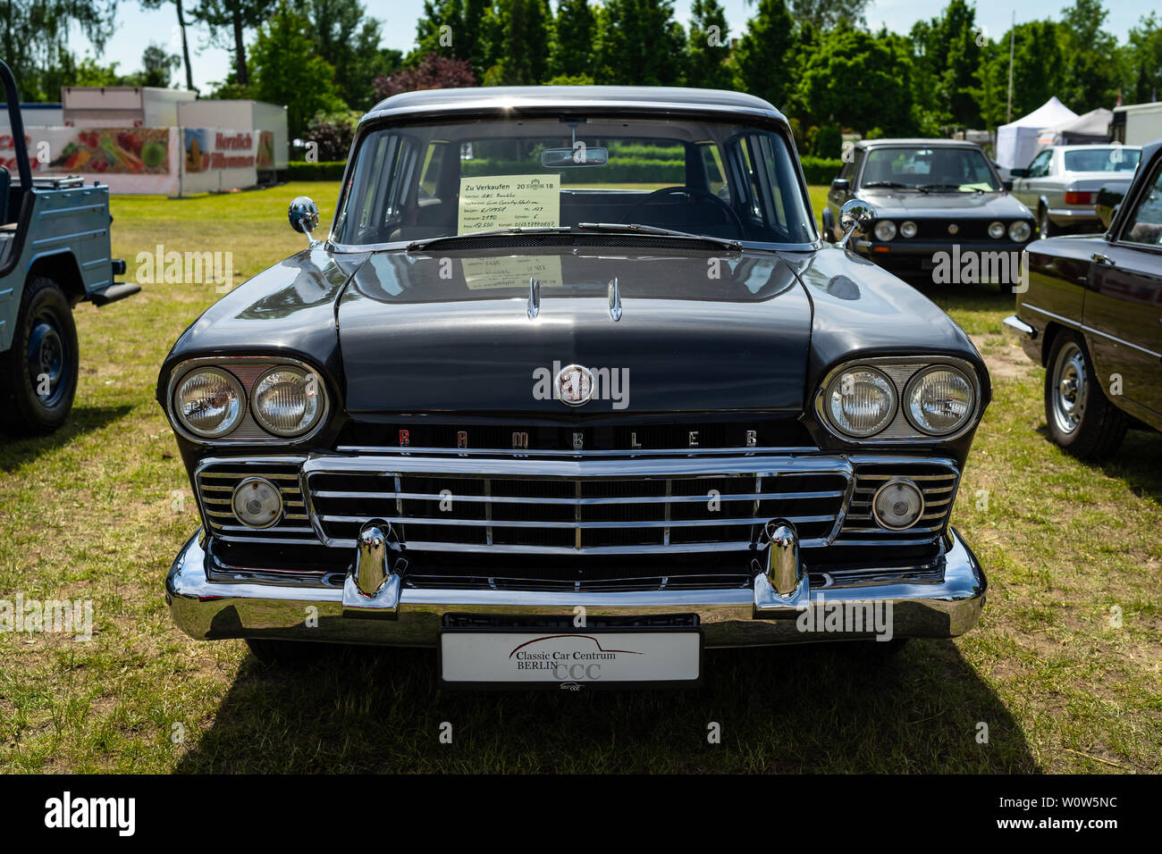 PAAREN IM GLIEN, GERMANY - MAY 19, 2018: Mid-size car AMC Rambler Six Custom Cross Country Station, 1958. Die Oldtimer Show 2018. - Stock Image