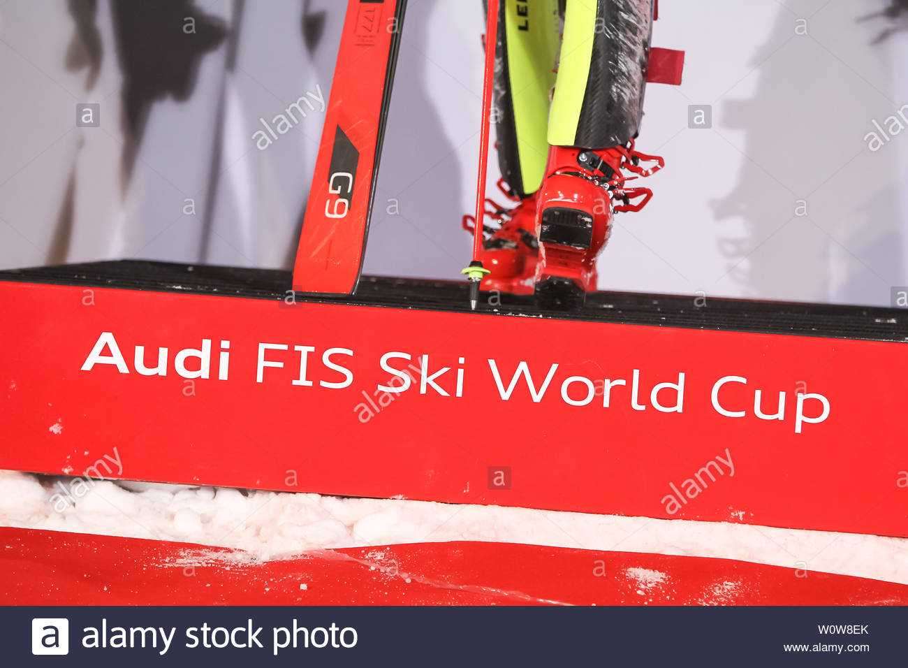 Zagreb, Croatia - January 5, 2019 : Audi FIS Ski World Cup logo on the award ceremony of the Audi FIS Alpine Ski World Cup Women's Slalom, Snow Queen Trophy 2019 in Zagreb, Croatia. - Stock Image