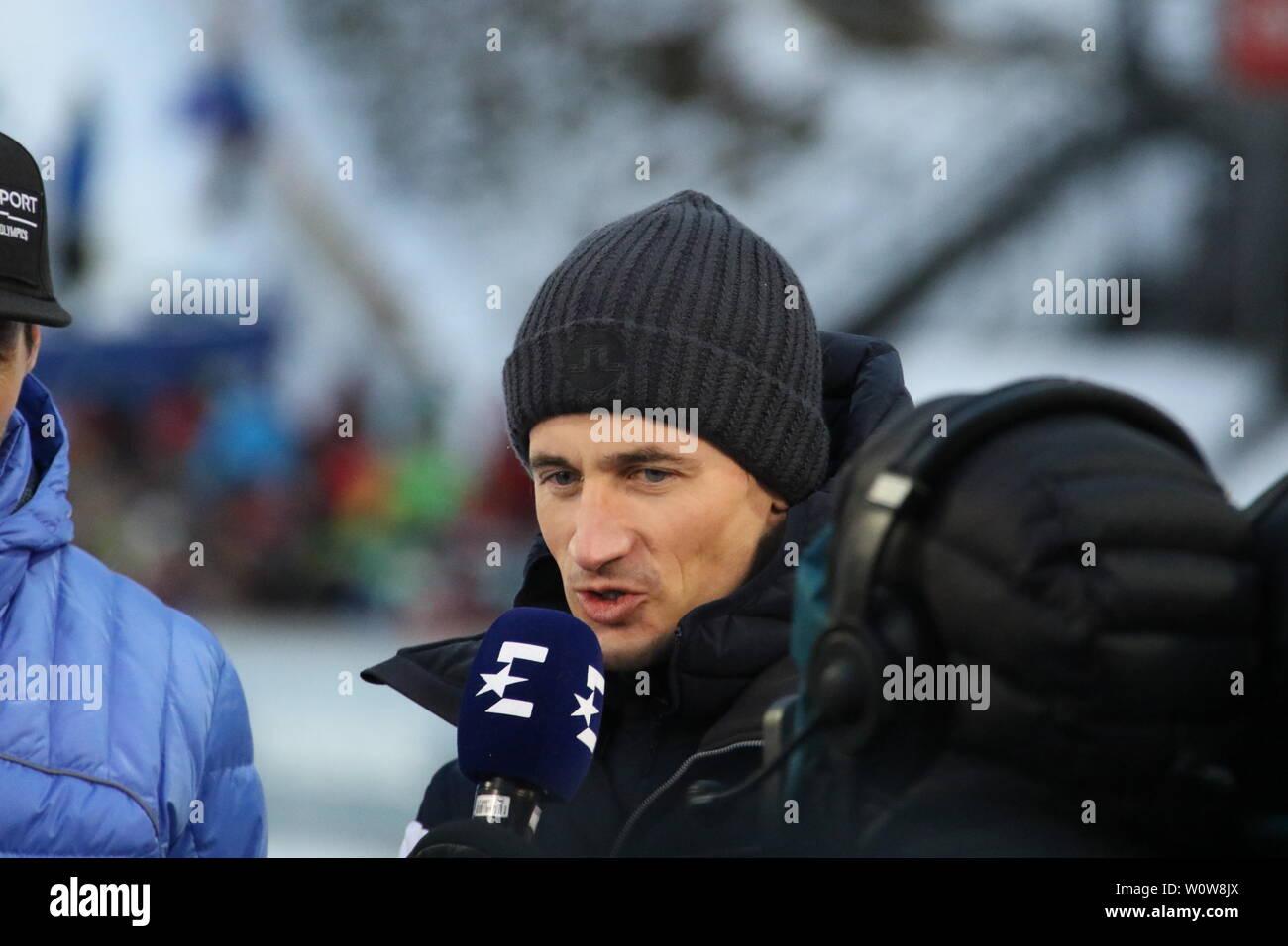 Martin Schmitt (TV-Experte /Skisprung-Experte, Eurosport, Ex-Weltmeister) beim Auftaktspringen Vierschanzentournee 18-19 Oberstdorf Stock Photo