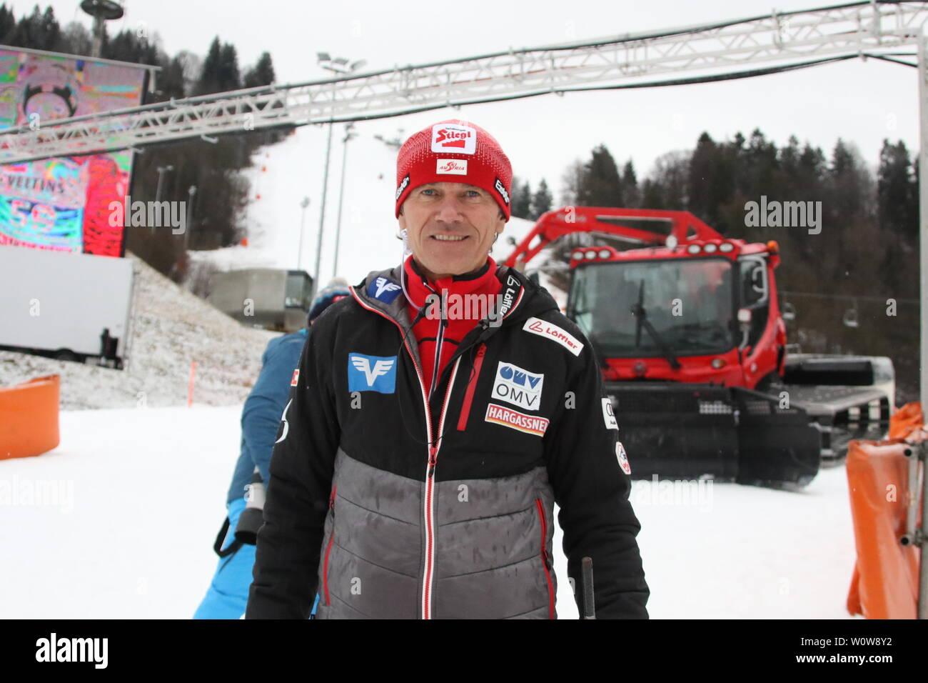 Andreas Felder (Cheftrainer Skisprung Österreich / Aut) bei der Qualifikation  Neujahrsskispringen GAP 2019 - Stock Image