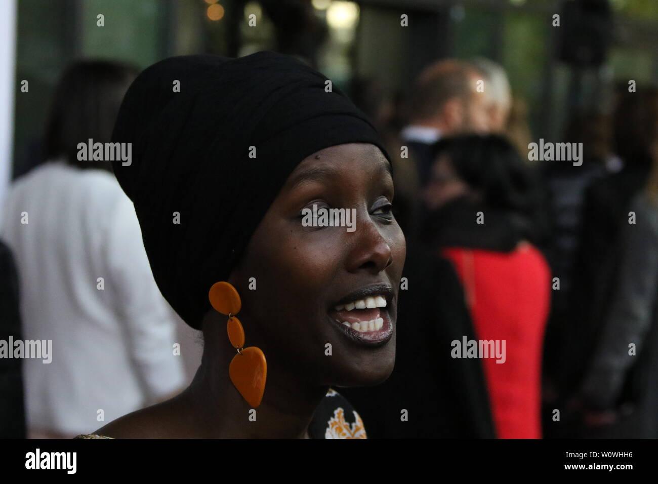 Sonderpreis 2018, Fatuma Musa Afrah (Laudator: Christian Wulff) beim Radio Regenbogen Award Rust 2019 Stock Photo