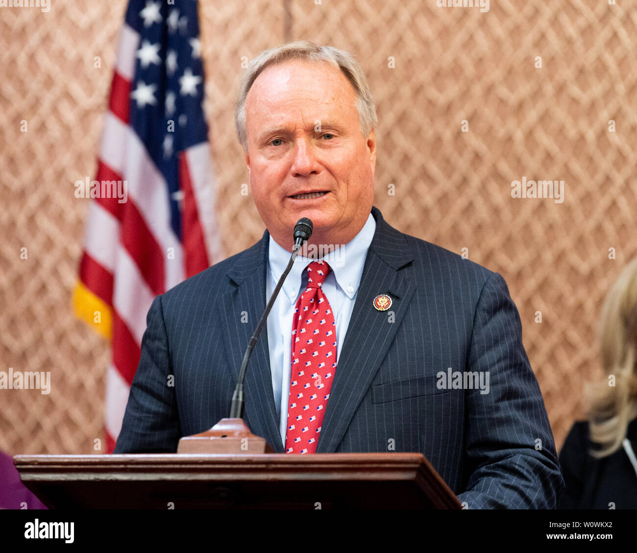Washington, United States. 27th June, 2019. U.S. Representative David Joyce (R-OH) speaking at a press conference sponsored by the Problem Solvers Caucus and the Common Sense Coalition to announce 'principles for legislation to lower prescription drug prices' at the US Capitol in Washington, DC. Credit: SOPA Images Limited/Alamy Live News - Stock Image