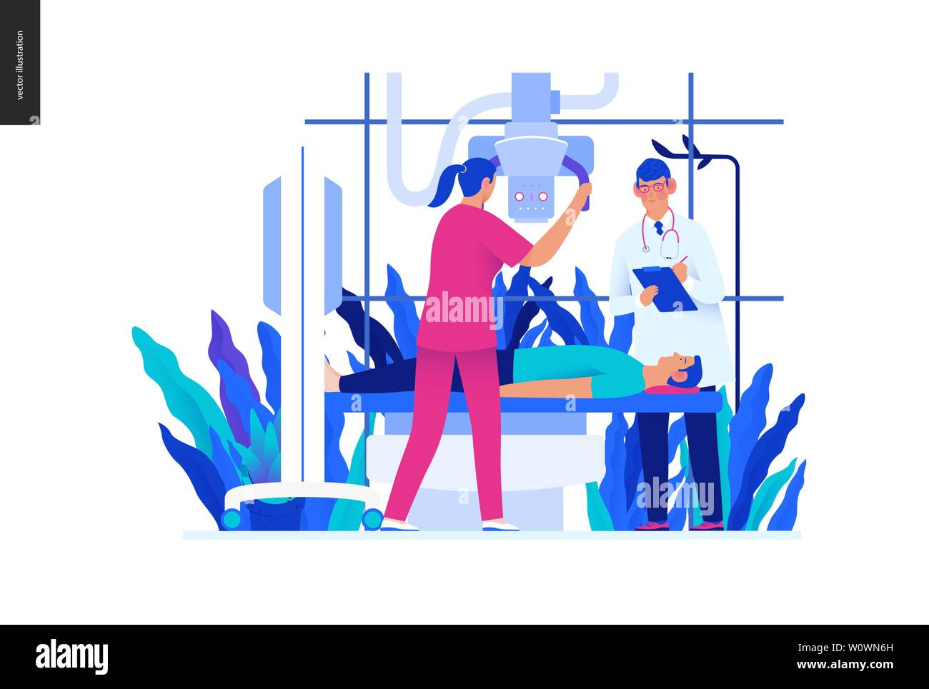 Medical tests blue illustration - x-ray test - modern flat vector concept digital illustration of x-ray procedure - a patient and doctors with a x-ray Stock Vector