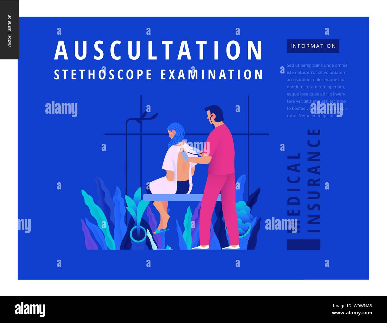 Medical tests Blue template - auscultation -modern flat vector concept digital illustration of stethoscope examination procedure - patient and doctor Stock Vector