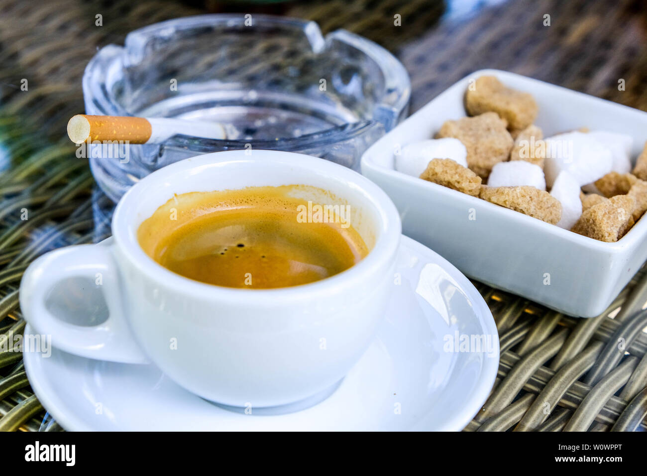a2b5e76f31e Cup of Traditional Italian Style Espresso Coffee With A Sugar Bowl on a  Table Top and