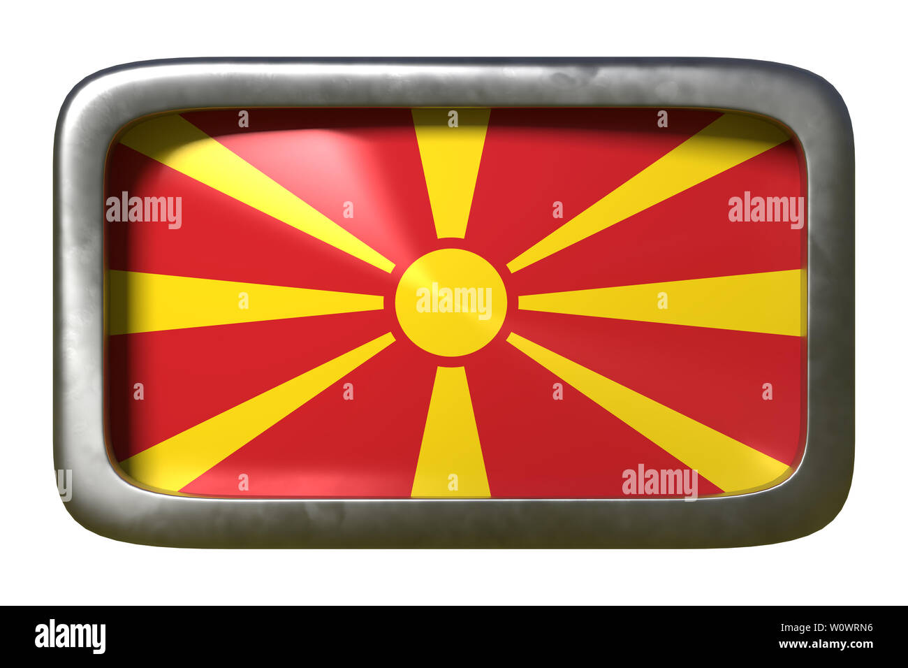 3d rendering of a Macedonia flag on a rusty sign isolated on white background - Stock Image