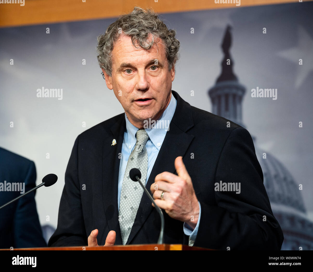 Washington, United States. 27th June, 2019. U.S. Senator Sherrod Brown (D-OH) speaking at a press conference on sanctions on North Korea in the National Defense Authorization Act at the US Capitol in Washington, DC. Credit: SOPA Images Limited/Alamy Live News Stock Photo