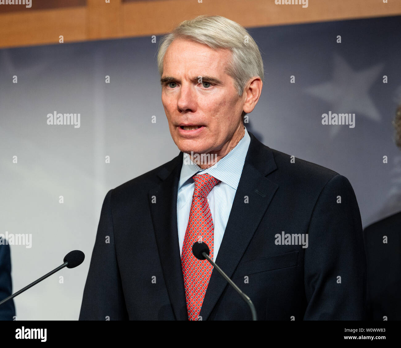 Washington, United States. 27th June, 2019. U.S. Senator Rob Portman (R-OH) speaking at a press conference on sanctions on North Korea in the National Defense Authorization Act at the US Capitol in Washington, DC. Credit: SOPA Images Limited/Alamy Live News Stock Photo