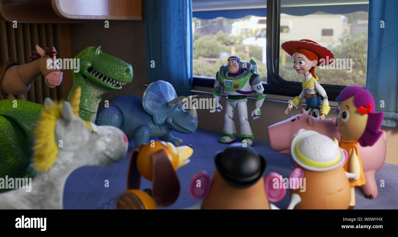 Toy Story 4 is an upcoming American 3D computer-animated comedy film produced by Pixar Animation Studios for Walt Disney Pictures. It is the fourth installment in Pixar's Toy Story series.   This photograph is supplied for editorial use only and is the copyright of the film company and/or the designated photographer assigned by the film or production company. - Stock Image