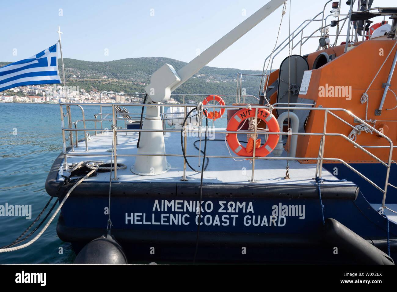 June 26, 2019 - Samos, Greece - A coast guard ship docked at
