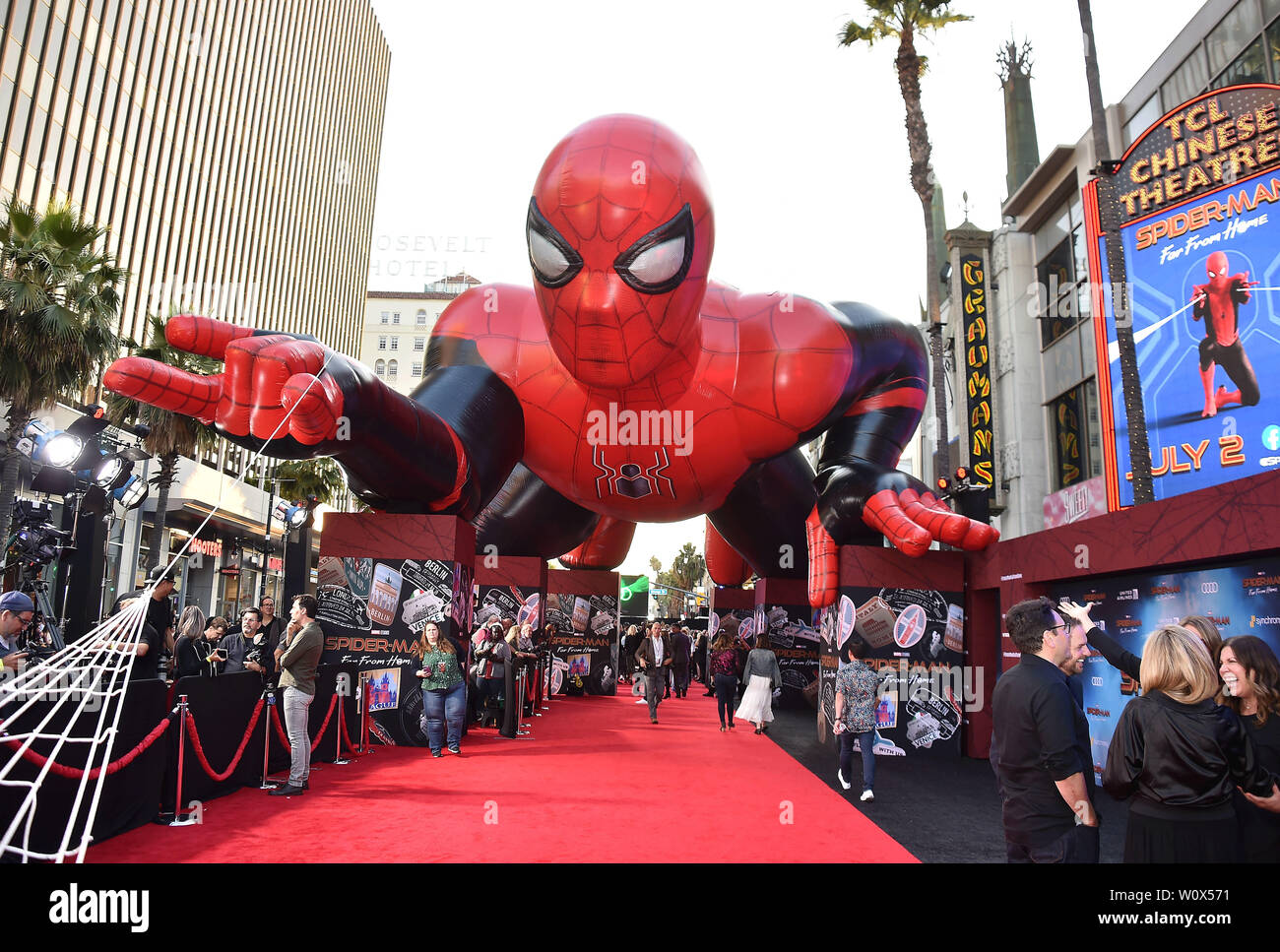 """HOLLYWOOD, CA - JUNE 26: Atmosphere at the premiere of Sony Pictures' """"Spider-Man Far From Home"""" at TCL Chinese Theatre on June 26, 2019 in Hollywood, California. Stock Photo"""
